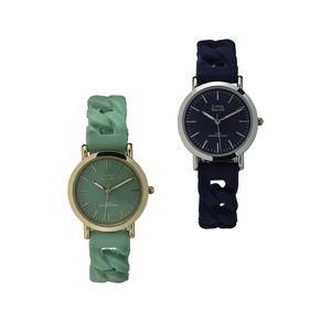 Damen-Armbanduhr mit Flecht-Optik