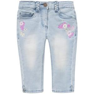 Mädchen Capri-Jeans mit Blumen-Stickerei