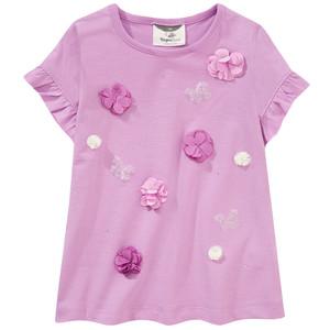 Mädchen T-Shirt mit Blüten-Applikationen