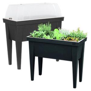 Kunststoff- Hochbeet mit Deckel für Balkon und Terrasse, Maße: ca. B 80 x T 40 x H 88 cm, je