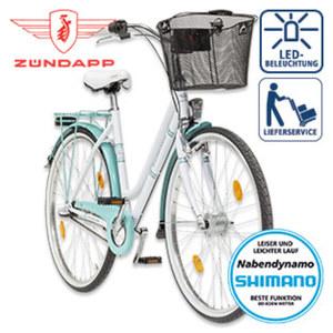 Citybike Red 2.0 - Shimano-Nexus-3-Gang-Nabenschaltung, Shimano Drehgriffschalter - Alu-V-Bremse vorne, Rücktrittbremse - Rahmenhöhe: 46 cm (26er), 52 cm (28er) - Lenkerkorb