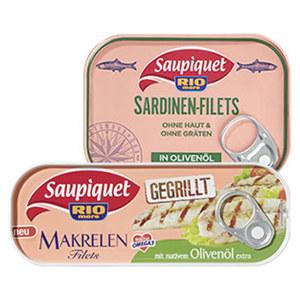 Saupiquet gegrillte Makrelenfilets oder Sardinenfilets versch. Sorten, jede 105/120-g-Dose