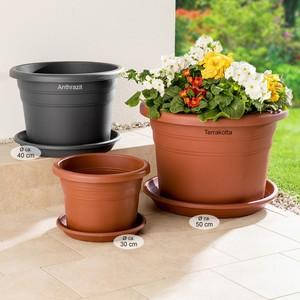 """Powertec Garden Blumentopf """"Cilindro"""" mit Untersetzer, Ø ca. 40 cm, Anthrazit - 4er Set"""