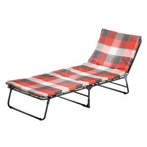 Solax-Sunshine Dreibeinliege mit Polsterauflage - Rot-Grau