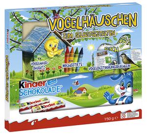 kinder Schokolade (150g) mit Vogelhäuschen-Bausatz & Buch