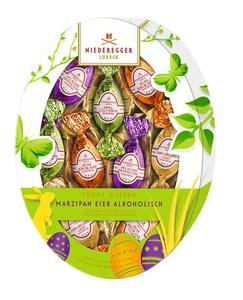 Niederegger - Marzipan Eier Variationen, alkoholisch, oval; Pralinen mit Vollmilch- und Zartbitter-Schokolade