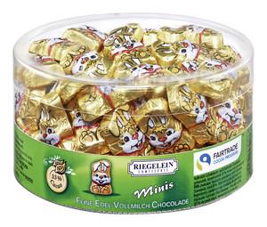 Riegelein Mini-Goldhäschen, Edelvollmilch-Schokolade massiv, 80x5g