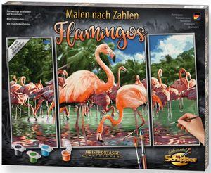Malen nach Zahlen - Flamingos - Meisterklasse Triptychon - Schipper