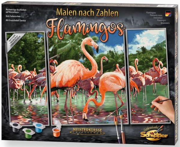 Malen Nach Zahlen Flamingos Meisterklasse Triptychon Schipper