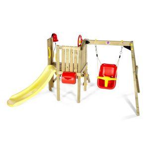 Plum - Holzturm für Kleinkinder mit Babyschaukel und Wellenrutsche - ca. 244 x 162 x 123 cm