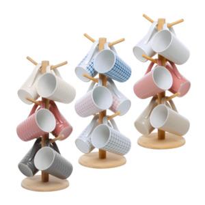 HOME CREATION     Tassenhalter aus Holz inkl. Keramiktassen