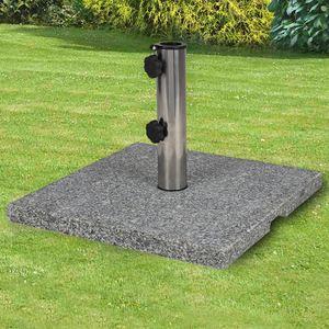 Granit-Sonnenschirmständer eckig 20kg, poliertes Granit, Gewicht: 20kg