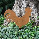 Bild 1 von Metall-Gartenstecker Hahn 48x35cm Rostbraun