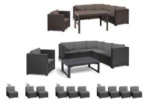Keter Gartenmöbel Lounge Set Provence mit höhenverstellbarem Tisch / Sessel Premium