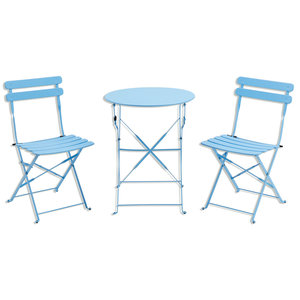 3-teiliges Gardiola Bistro-Set MARTINIQUE - blau - Stahl