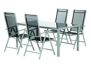 5-teiliges Gartenmöbel-Set SATURN - Alu-schwarz