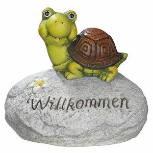 Deko-Stein - mit Schildkröte - 30 cm