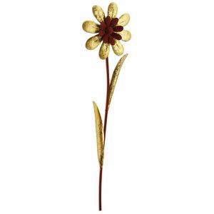 Blume - gold-Rostoptik - Metall - 95 cm hoch