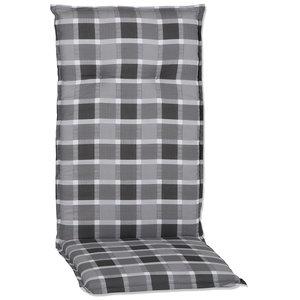 Stuhlauflage ALMERIA - hoch - grau-weiß - 50x118 cm