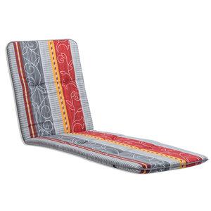 Liegenauflage MALAGA - grau-rot - 60x193 cm