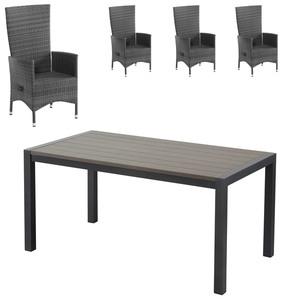 Gartenmöbel-Set Antonia/Rio Grande (1 Tisch, 4 Komfortsessel, graumix)