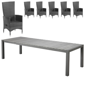 Gartenmöbel-Set Miami XXL/Rio Grande (1 Tisch, ausziehbar, 6 Komfortsessel, graumix)
