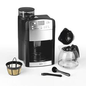 2 in 1 Kaffeemaschine Fresh-Aroma-Perfect mit Mahlwerk, Permanent-Filter und Glaskanne, Schwarz/ Silberfarben. Beem