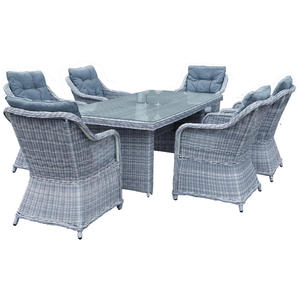 Ambia Garden DINING-LOUNGESET Struktur Kunststoffgeflecht Aluminium, Grau