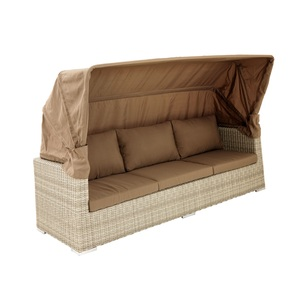 outdoor Gartensofa 3-Sitzer AMY mit Dach naturbraun