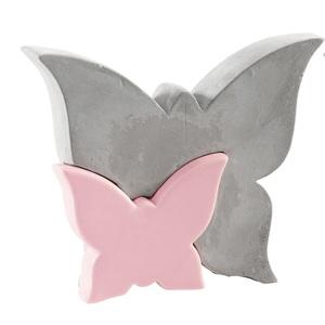 casaNOVA Deko Schmetterling 15 cm Dolomit rosa/Zement grau