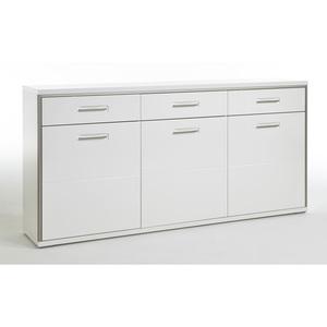 Sideboard 184 x 89 x 45 cm Holznachbildung Hochglanz weiß