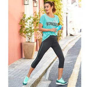 Damen-Fitnesshose in moderner Melange-Optik
