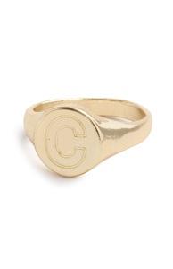 "Goldfarbener Ring mit Initiale ""C"""