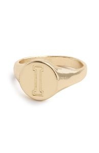 "Goldfarbener Ring mit Initiale ""I"""