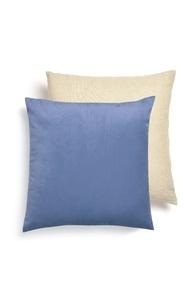 Blaues Samtkissen mit Leinen-Rückteil