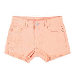 manguun teens             Shorts, uni, florale Stickerei, Fransen-Saum, elastisch, für Mädchen