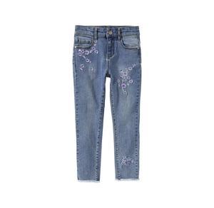 Kids Mädchen-Jeans mit Blumen-Stickerei