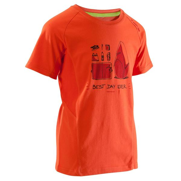 Kletter-T-Shirt Kinder Kurzarm rot