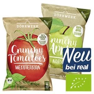 Bio Chips versch. Sorten z.B. Apfelchips natur 40 g oder Tomatenchips Mediterran 30 g, Handproduziert in Deutschland, 100 % Frucht ohne Künstliche Zusatzstoffe, jeder Beutel