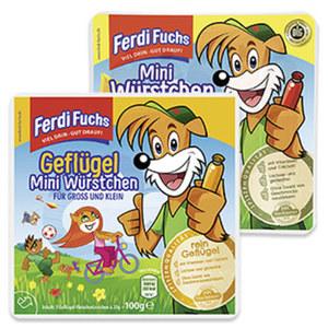 Ferdi Fuchs Mini Würstchen mit Geflügel- oder Schweinefleisch, jede 100-g-SB-Packung