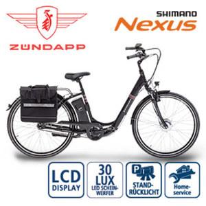 Alu-Elektro-Fahrrad Green 3.0 - Fahrunterstützung bis ca. 25 km/h - Samsung Li-Ionen-Akku 36 V/11 Ah, 396 Wh - Reichweite: bis zu 100 km pro Akku (je nach Fahrweise) - Blaupunkt wartungsfreier Vorde