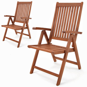 Deuba 2er Set Gartenstuhl Vanamo | Eukalyptus Holz klappbar | Klappstuhl Hochlehner Klappstühle Klappsessel Gartenmöbel