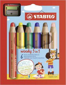 Multitalent-Stifte - Woody 3-in-1 - 6 Stück