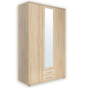 Kleiderschrank PORTO - Sonoma Eiche - eckiger Spiegel - 120 cm