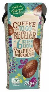 Coffee To Go Becher mit Schokoladeneiern gefüllt 75g