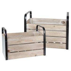 Holzkisten-Set mit Metallgriffen 2-teilig