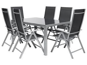 FLORABEST Gartenmöbel Set Aluminium 7-teilig. , grau