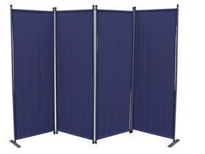 Grasekamp Paravent 4tlg Raumteiler Trennwand  Sichtschutz Blau