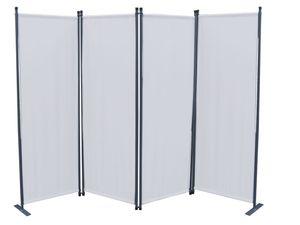 Grasekamp Paravent 4tlg Raumteiler Trennwand  Sichtschutz Weiß