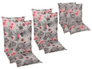 GO-DE Textil Sessel-Auflage Flamingo rot-grau 2er Set